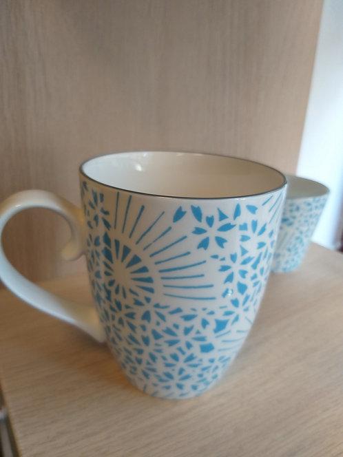 Japanese fan motif mug lightblue