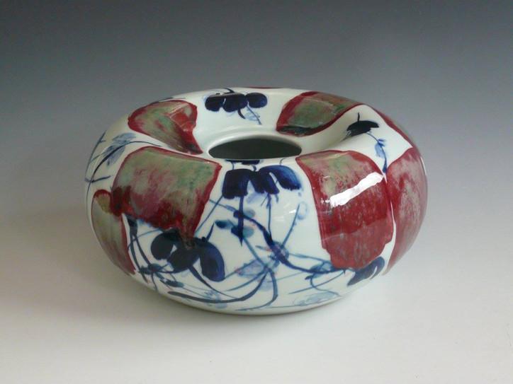 Jingdezhen cobalt blue and copper red underglaze porcelain