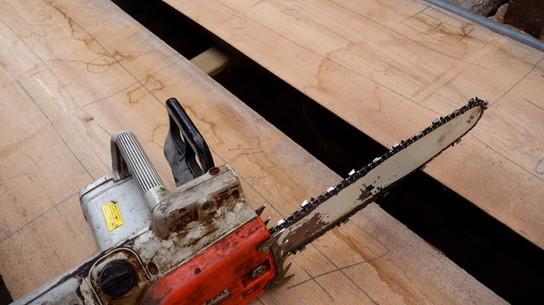 Erste Holzauswahl vor dem Auftrennen hofschreinerei Heidelberg