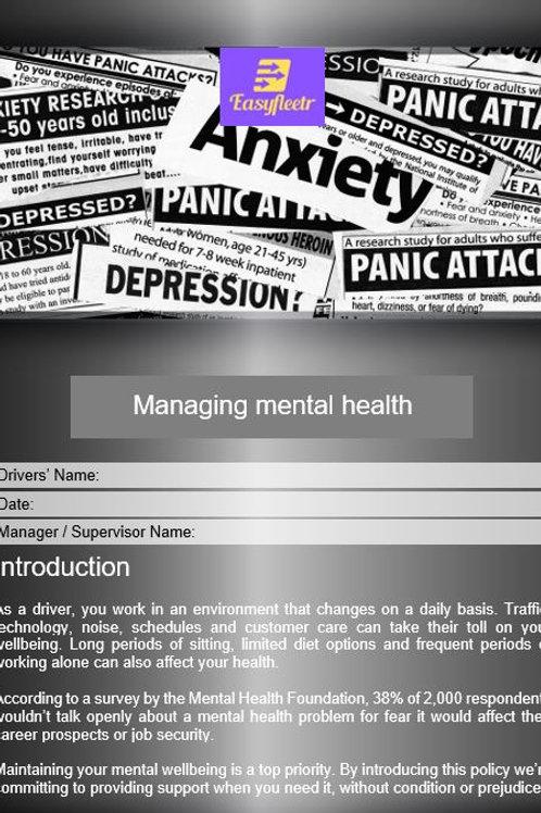 Policy - Managing mental health