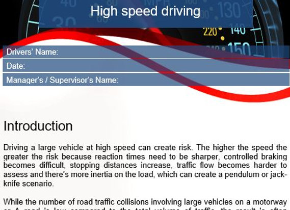 Policy - High speed driving