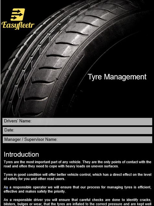Policy and procedure - Tyre Management