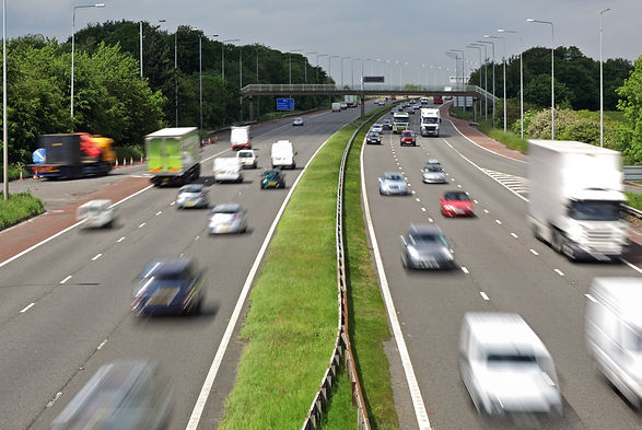 Heavy traffic moving at speed on the M6