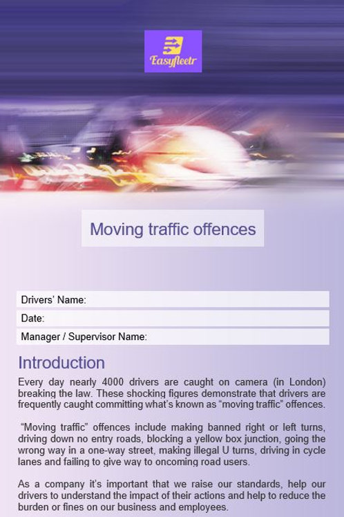 Policy and procedure - Moving traffic offences