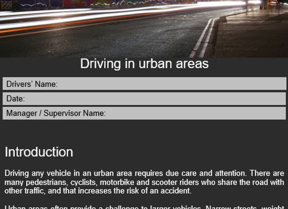 Policy - Driving in urban areas