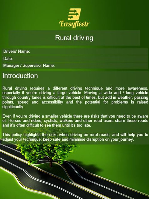 Policy - Rural driving