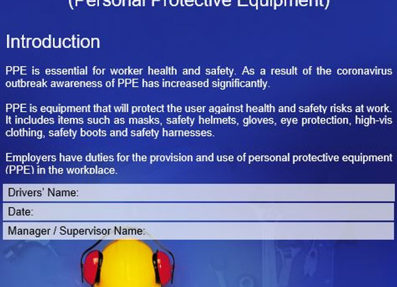Policy - Managing & using PPE (Personal Protective Equipment)