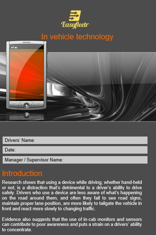 Policy and procedure - In-vehicle technology