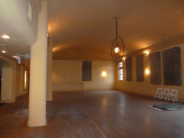 Ballroom with historic chandelier