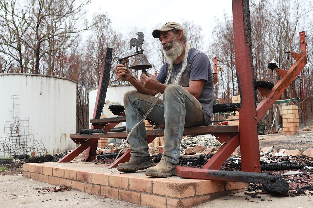 Grace and Hugh - Piano Pushers: Man sitting on step house burnt down in bushfire Nymboida Australia (Grace and Hugh Piano Songwriter Blog)