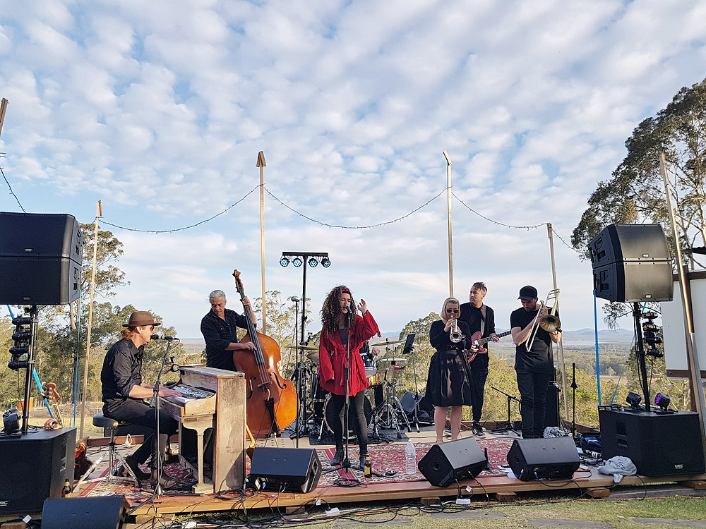 Performing 7 piece band house concert festival australia (Grace and Hugh Piano Songwriter Blog)