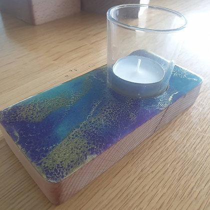 Purple, Teal & Gold  Narrow Candle Tray