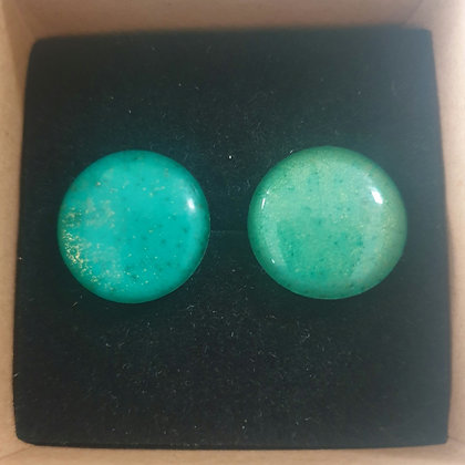 Resin & Alcohol Ink Round Green 1.5cm Earrings