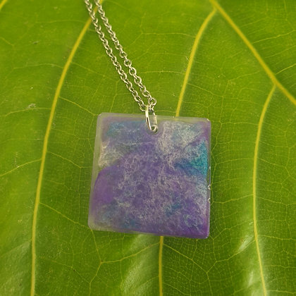 Purple Resin Square Pendant