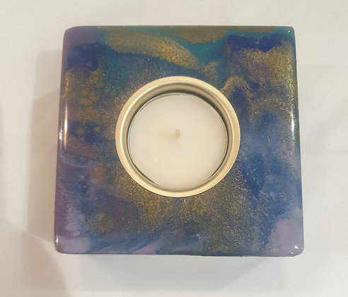 Blue, Purple, Turquoise & Gold Candle Block