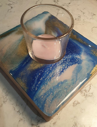 Blue Bubbles Square Candle Tray