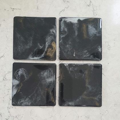 Black, Gold & Coaster Set (4 piece)
