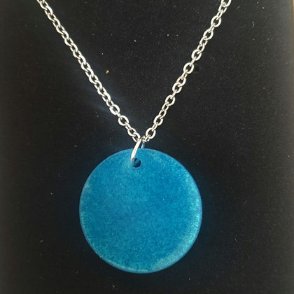 Turquoise Resin Round Pendant