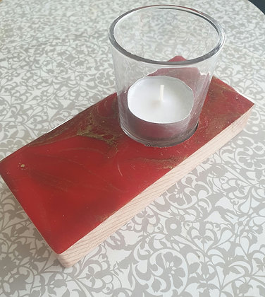 Christmas Red & Gold Narrow Candle Tray