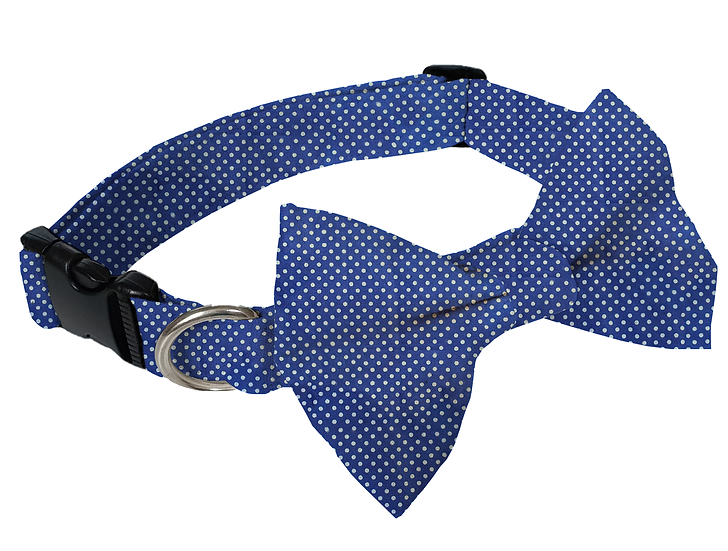 Navy Polka Dot Bow Tie Collar - From $35