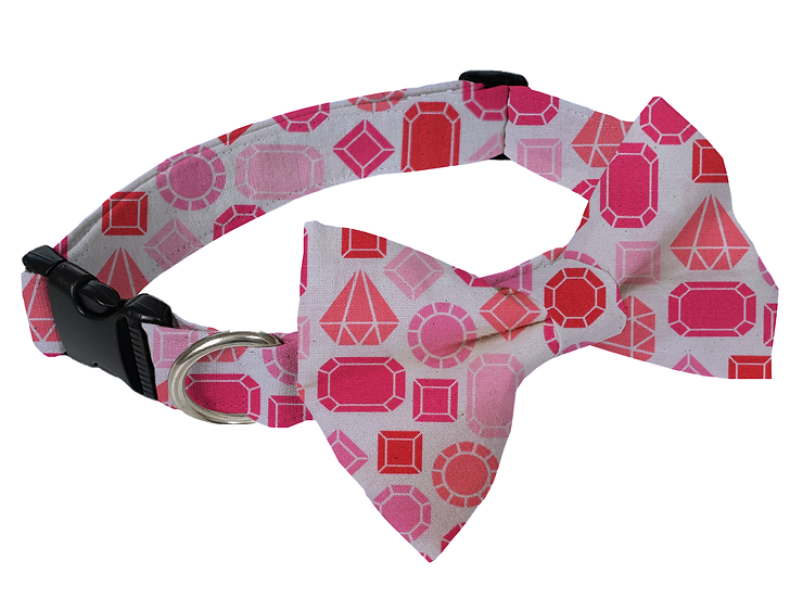 Pink Gem Collar (Bow Tie Optional) - From $30