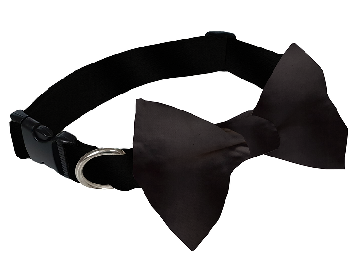 Black Satin Bow Tie Collar - From $35