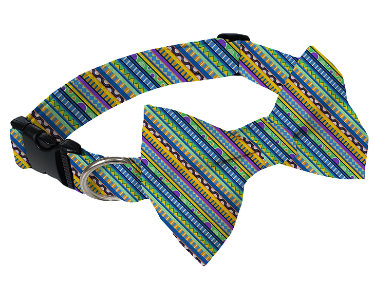 Groovy Stripes Collar (Bow Tie Optional) - From $30