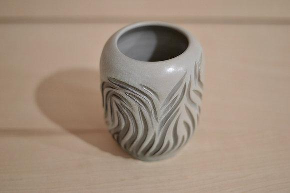 Icy Blue Carved Vase by Tamar Eckstein