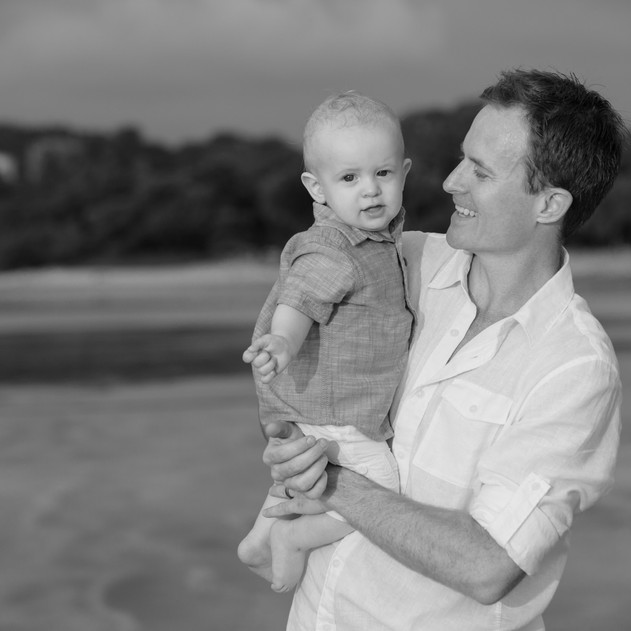 Both Father and Son enjoying their Costa Rica Vacation--Black and White Photography