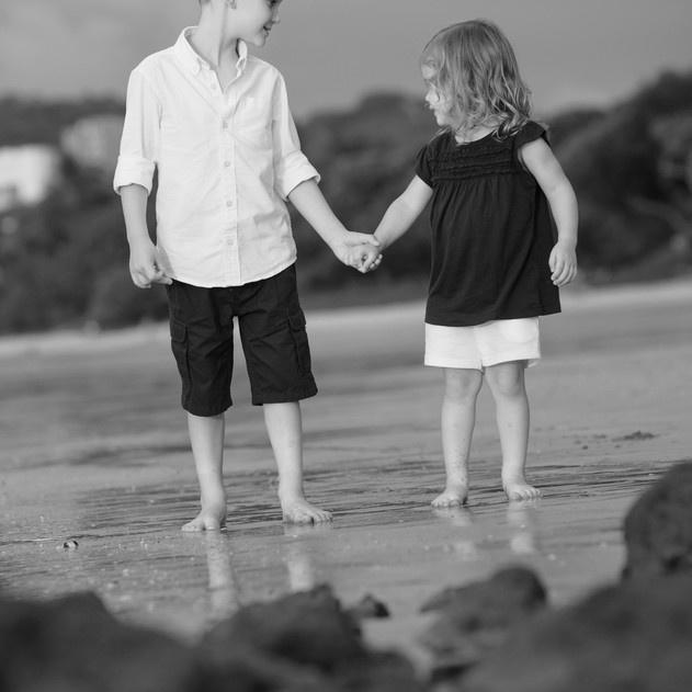 Brother and Sister Love in Tamarindo Costa Rica--Black and White Photography