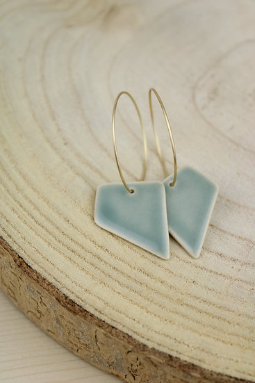 Earrings     Green Blue Angles