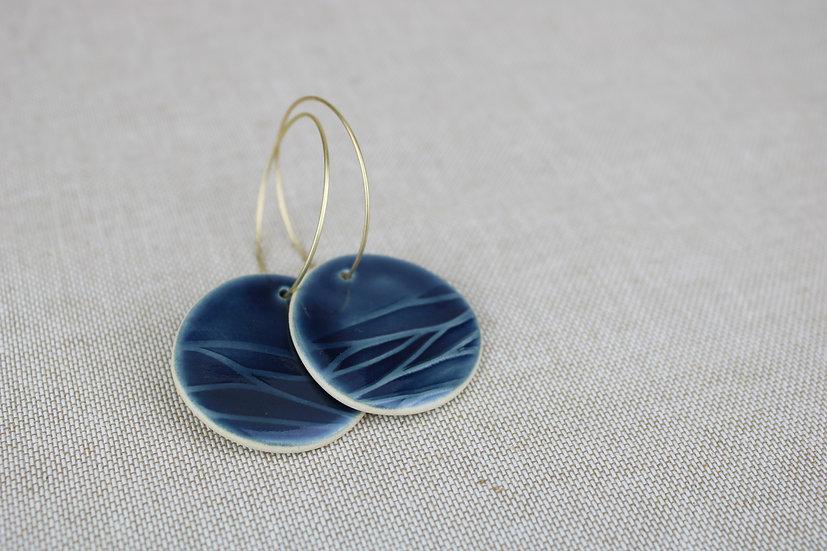 Earrings  |  Navy Round Waves