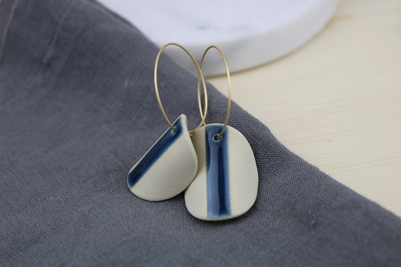 Earrings     Navy Arched Moons