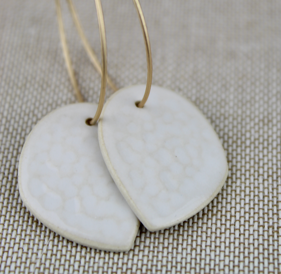 Earrings  | White Arch + Texture