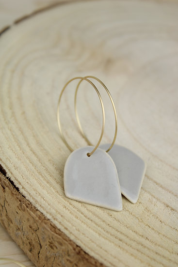 Earrings     Soft Grey Angled Arch