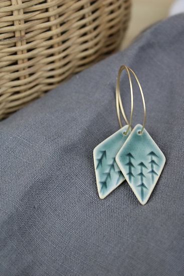 Earrings  |  Deep Green Blue Forest Diamond
