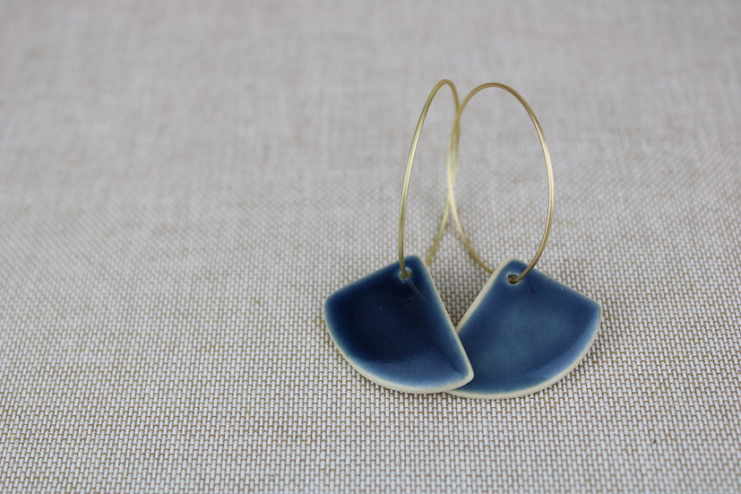Earrings  |  Navy Rounded Triangle