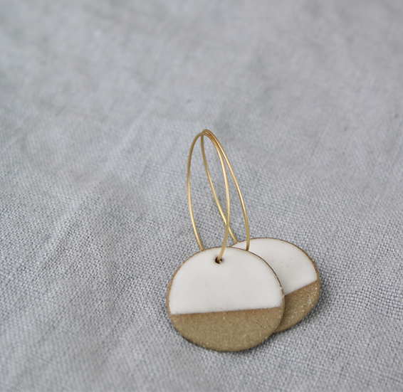 Earrings  |  Raw Sandy Clay Round + White