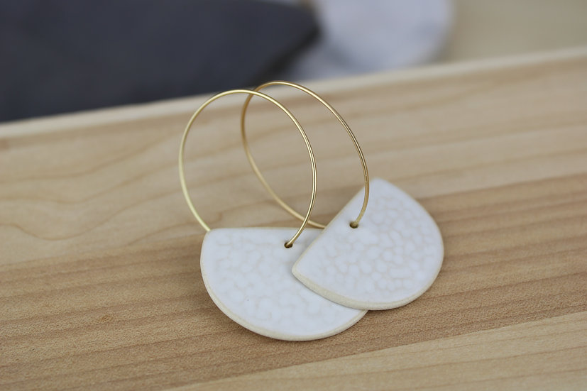 Earrings  |  Textured White