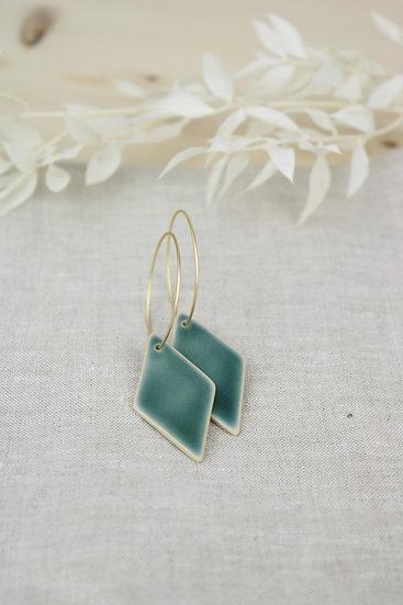 Earrings  |  Deep Blue Green Diamond