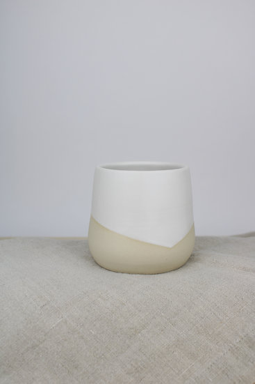 Cup     Matte White Angled + Raw