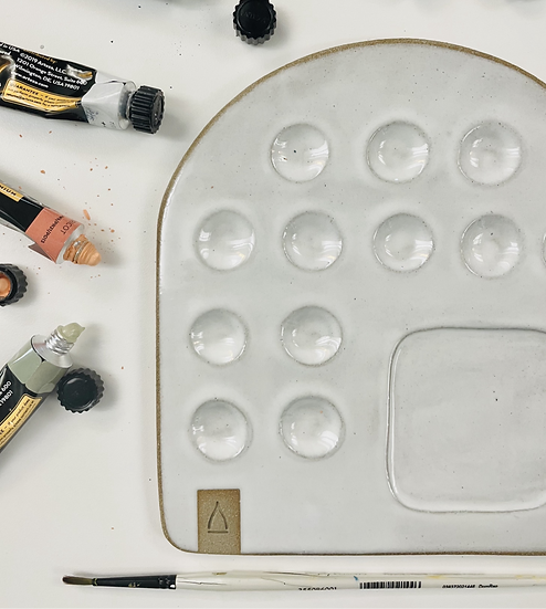Large Paint Palette | Sandy Raw Clay + Gloss White