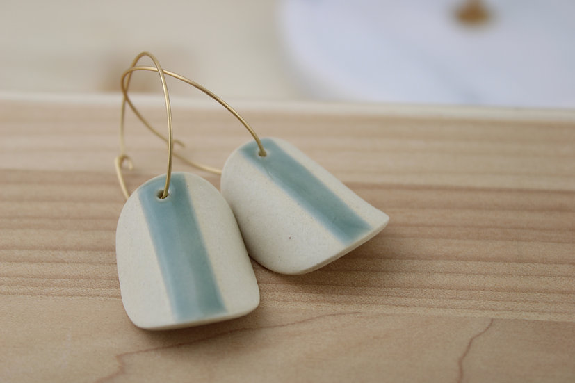 Earrings  |  Blue Green Arched Moons
