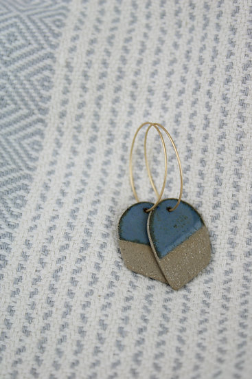 Earrings  |  Raw Sandy Clay Arch + Blue