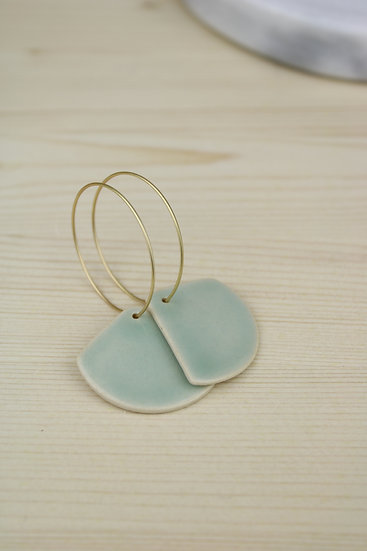 Earrings  |  Soft Blue Green Rounded Triangle