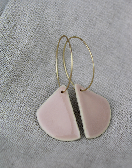 Earrings  |  Rounded Triangle Blush Pink