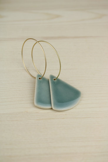 Earrings     Soft Blue Green Rounded Triangle