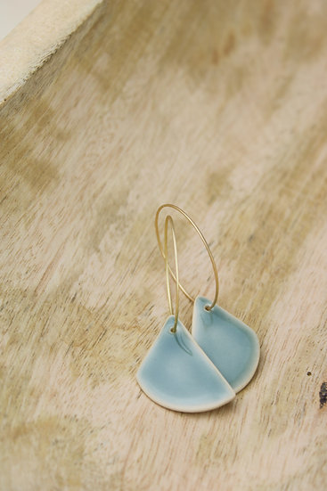 Earrings  |  Deep Blue Green Rounded Triangle