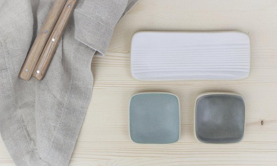 Wobble Plate Set     Long White Woodgrain + Small Charcoal + Grey Blue