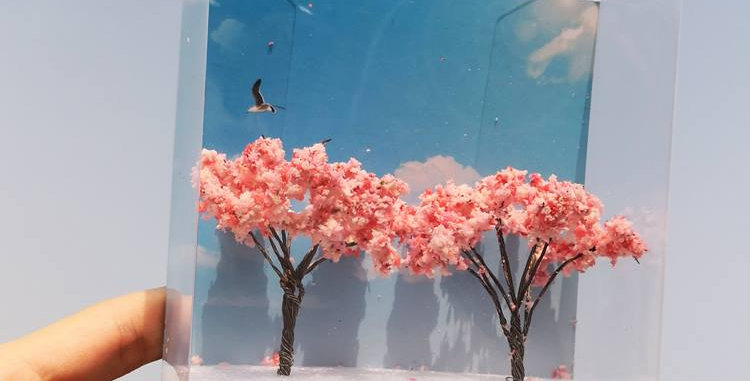 model sakura trees, model railway/railroad/train layouts and scenes